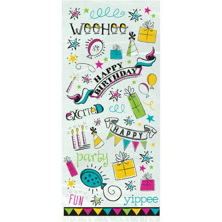 Doodle Happy Birthday Cellophane Bags, Pack of 20