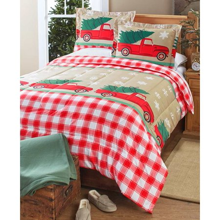 Tree Farm Holiday Comforter Set with Vintage Truck, Christmas Trees - Set of 3 ()