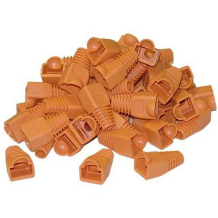 Rj 45 Strain Relief Boot (CableWholesale RJ45 Strain Relief Boots 50 Pieces per Bag, Orange (Amazon 503-1-N))