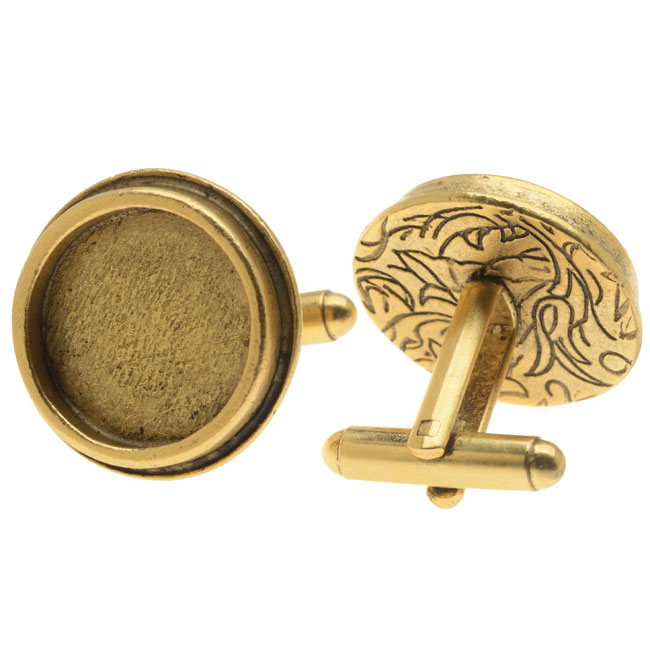 Nunn Design Antiqued Gold Plated Bezel Cuff Link 22mm (2)