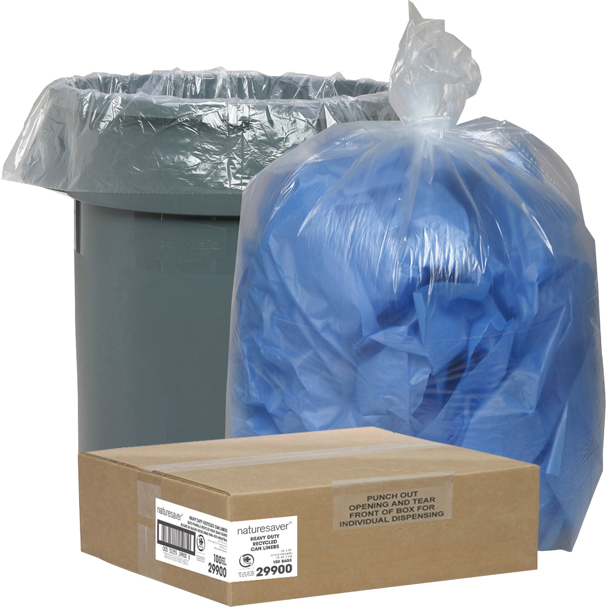 Nature Saver, ASP30206, Recycled Trash Can Liners, 100 / Carton, Clear