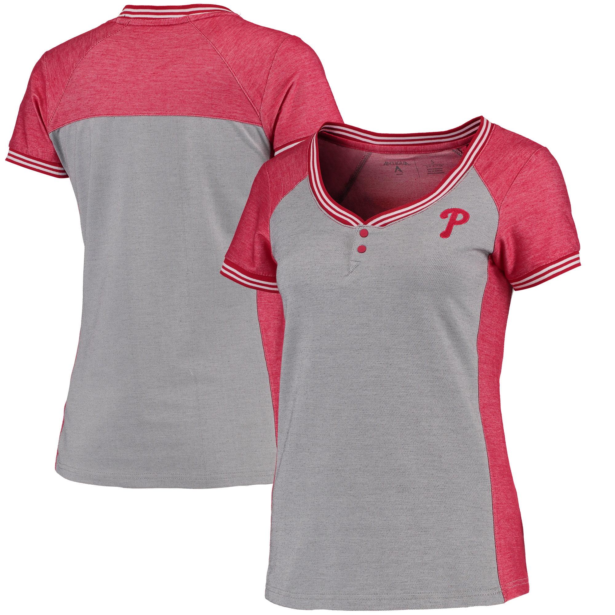 Philadelphia Phillies Antigua Women's Quick Henley T-Shirt - Gray/Red