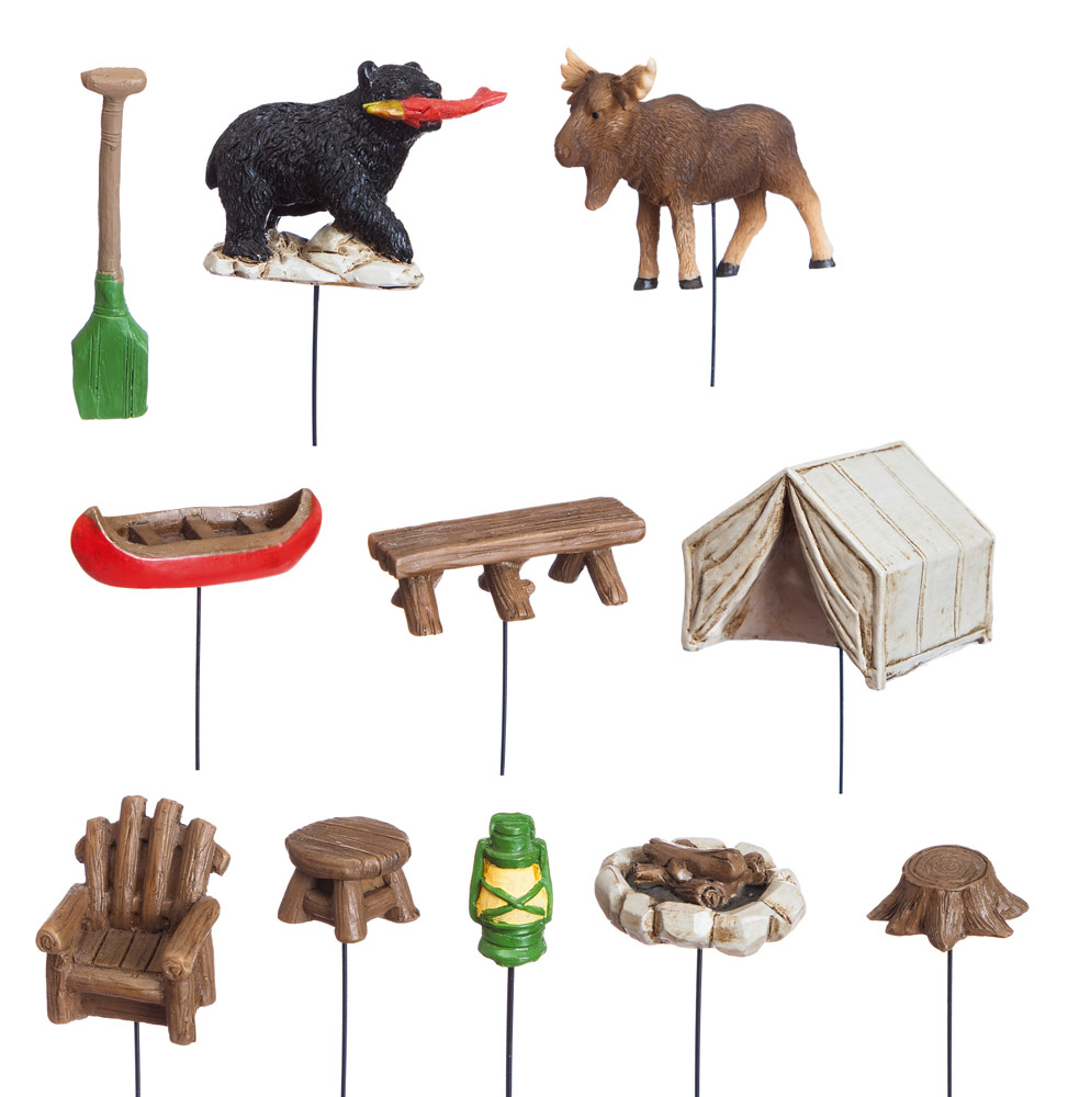 New Creative Polystone Camping in the Woods Mini Garden 11-piece Set