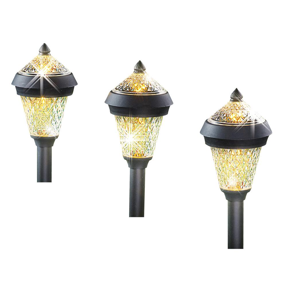 Sparkling Solar Stake Light with Cap - Set 3, Outdoor Garden Décor or Entry Pathway Lighting