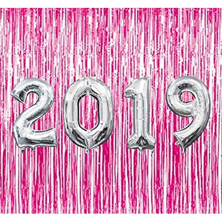 Graduation 2019 Silver Balloons with Hot Pink Curtain Backdrop Party Kit Decorations Pkg/1 - Hot Pink Black And White Party Decorations