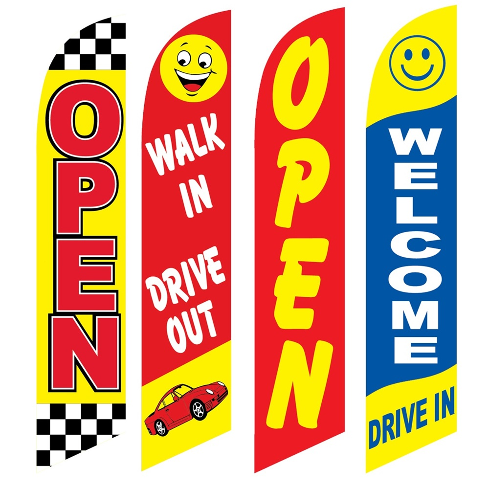 4 Advertising Swooper Flags Open Walk In Drive Out Open Welcome