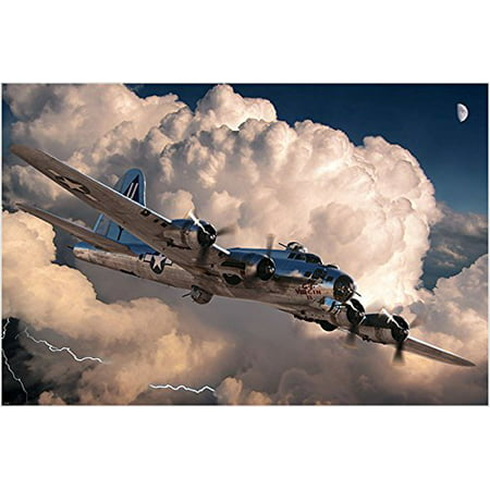 World War 2 Plane Photo Poster Amazing Clouds Old School In Flight 24X36