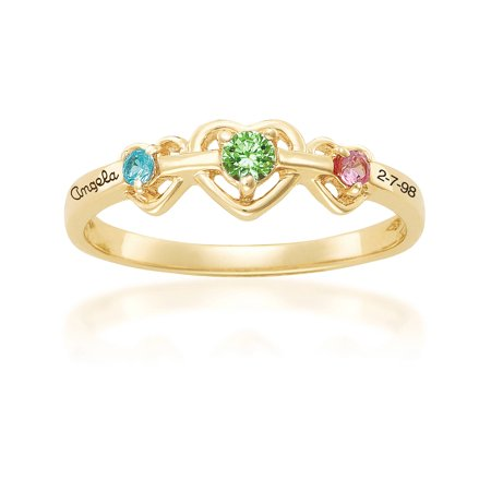 Personalized Family Jewelry Birthstone Triple Heart Mother's Ring available in Sterling Silver, 10kt Gold Plated,14kt Gold Plated