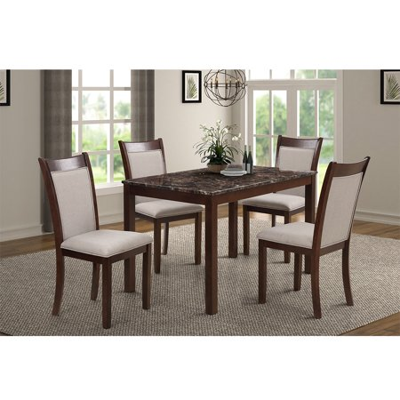 Hommoo 5-Piece Dining Table Set for 4 Person, B200003PC Marble Top Counter Height Dining Room Table Set, Modern Kitchen Table Set with 4 Leather-Upholstered Chairs
