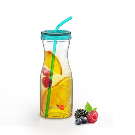 Holiday Season | Tritan Water Bottle With Straw by SimpleHH: BPA Free Cold Drink | Water Container | Dishwasher-Safe Tumbler | Extra Wide Mouth w/ Easy Twist Lid | - Holiday Straws