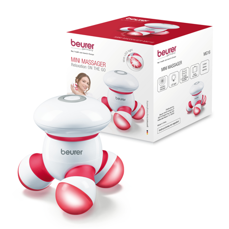Beurer Handheld Mini Body Massager with LED light, Gentle and Comfortable Vibration, Easy Hand Grip, Battery Operated, Gentle Vibration, MG16R ()