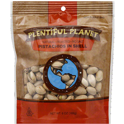 Plentiful Planet No Salt Pistachios in Shell, 6 oz, (Pack of 6) by