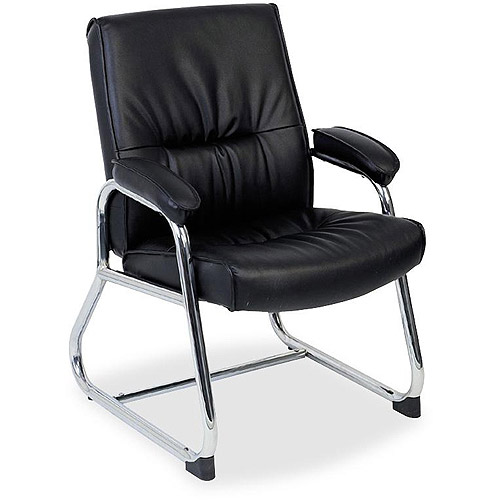 Lorell Bridgemill Leather Guest Chair, Black