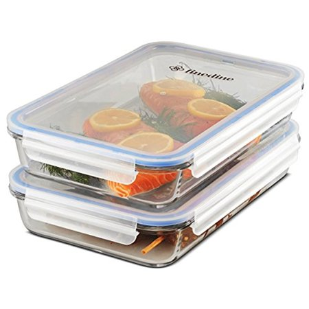 Casserole Borosilicate Glass Baking Dish Set of 2, Leak-Proof BPA Free Shatter Resistant Oven, Microwave, and Freezer Safe Food Storage Lasagna pan Airtight silicone sealed container 64 oz.