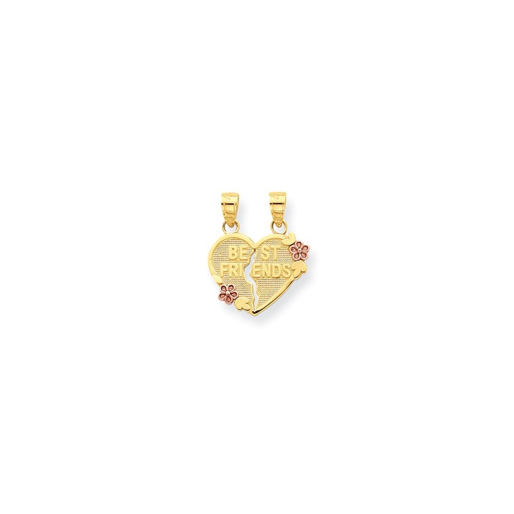 10k Two Tone Gold Best Friends Break-apart Heart Pendant