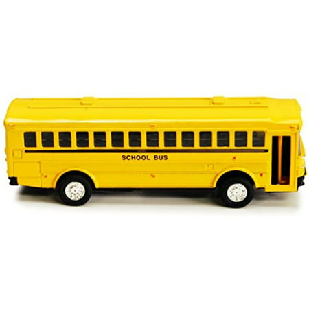 Flat Nose Yellow School Bus Metal Die Cast Toy with Pull Back 5 inch