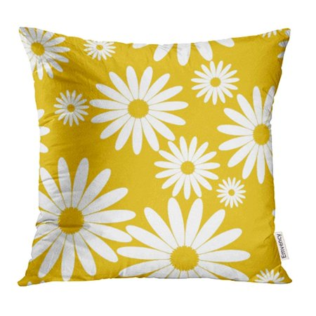 ARHOME Chamomile White Daisies Pattern on Yellow Daisy in Flat Design Tiny Flowers Abstract Pillow Case Pillow Cover 20x20 inch Throw Pillow Covers - Yellow Daisies