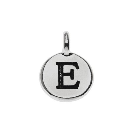 Alphabet Charm, Uppercase Letter 'E' 16.5x11.5mm, 1 Piece, Antiqued Silver