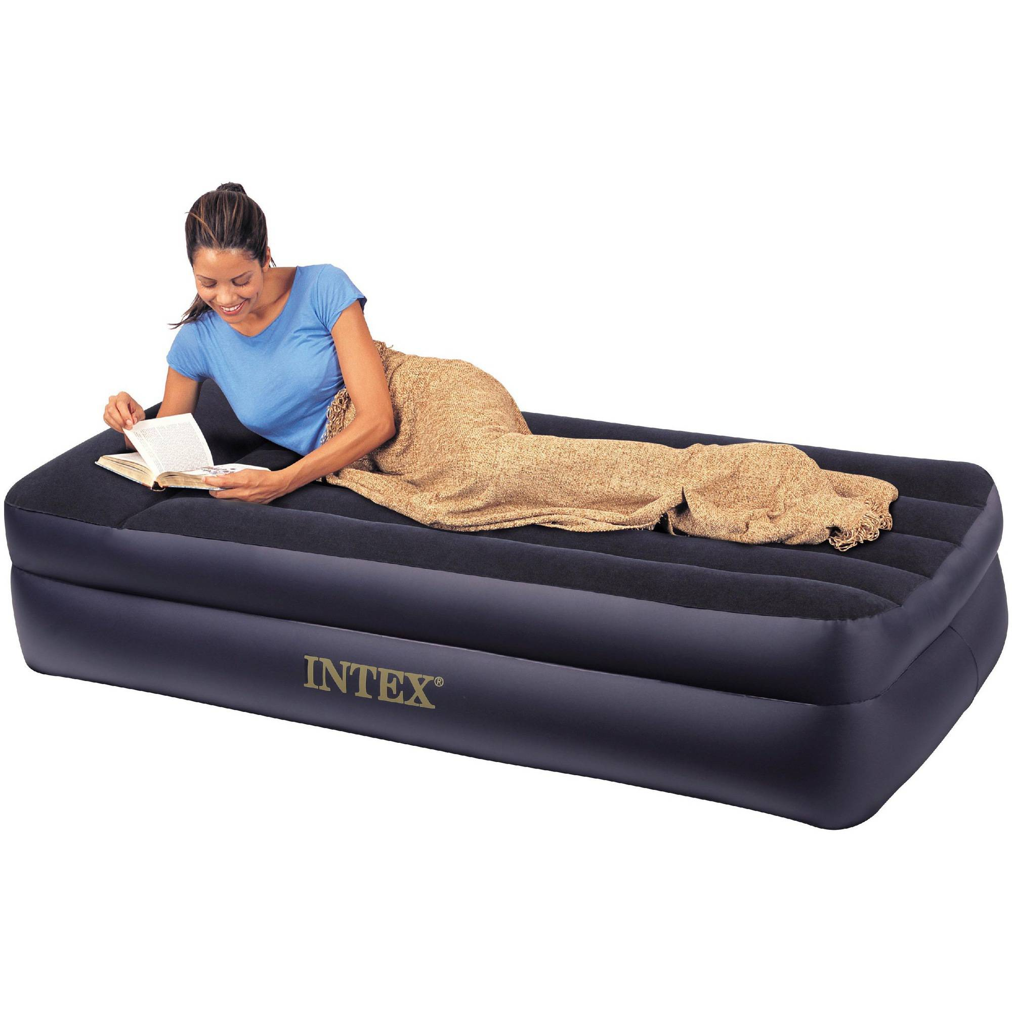 "Intex Twin 16.5"" Raised Pillow Rest Airbed Mattress with Built-in Pump"