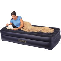 Deals on Intex Twin Raised Pillow Rest Airbed Mattress w/Built-in Pump
