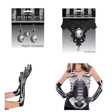 Amscan Skeleton Halloween Costume Bundle Tank Top, Long Skeleton Gloves, Cameo Choker and Earrings / Ring