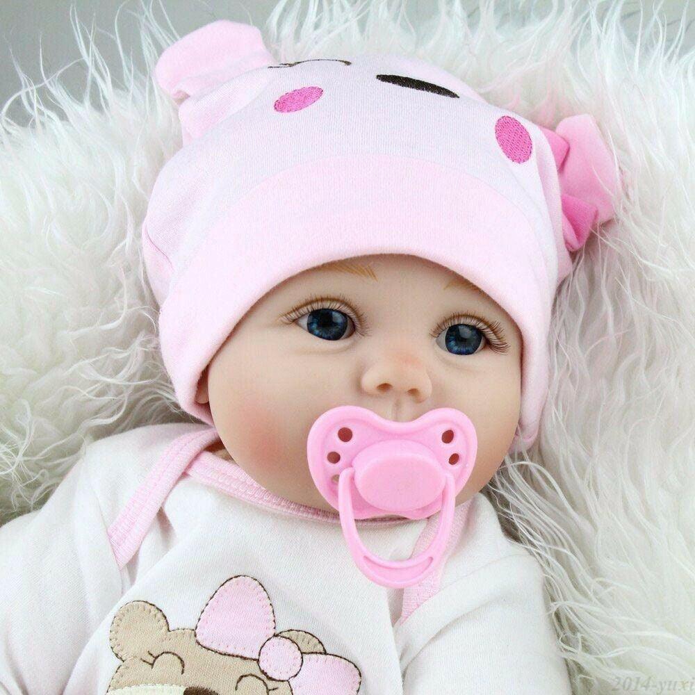 "22/"" Cute Handmade Reborn Baby Dolls Newborn Lifelike Blonde Girl Doll Gift Vinyl"