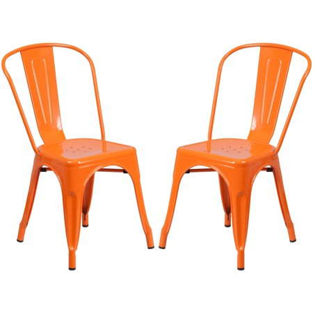 A Line Furniture Orange Metal Bistro-style Chair ()