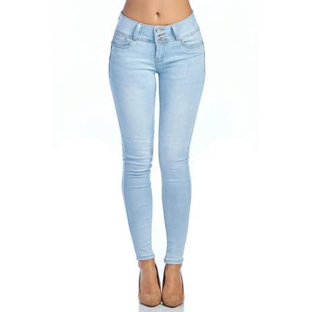Love Moda Women's Butt Lifting Mid Rise Skinny Jeans (Lt.Blue, 1 #90079) by Love Moda