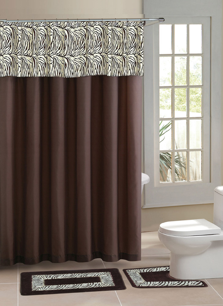 Designer Bath Shower Curtain, Contemporary Bathroom Rugs Sets