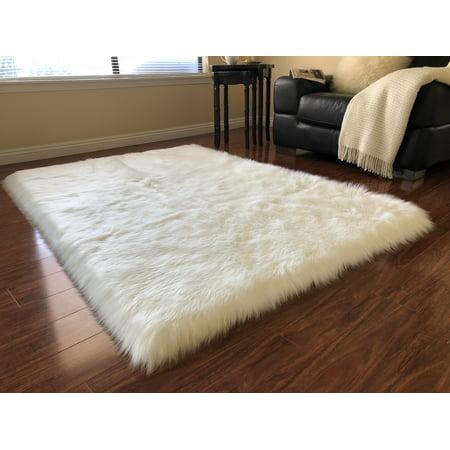 Soho Luxurious Faux Sheepskin White Area Rug Or Runner
