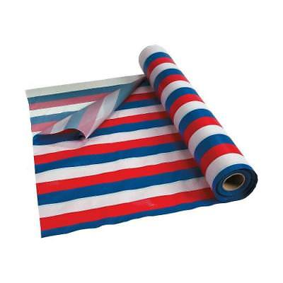 Red, White U0026 Blue Striped Plastic Tablecloth Roll By Fun Express