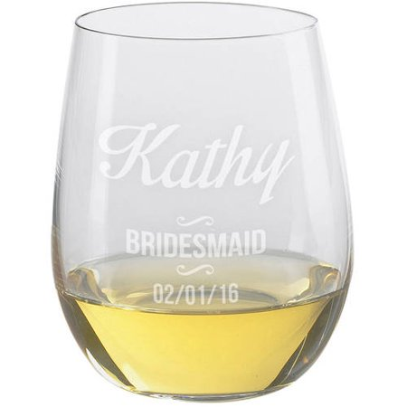 Personalized Bridesmaid Stemless Wine Glass - Bridesmaid Glasses