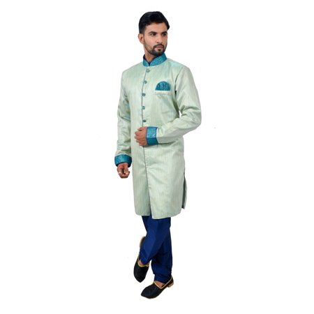 Pista Silk Traditional Indian Wedding Indo-Western Sherwani for Men. This product is custom made to order. - image 5 of 6
