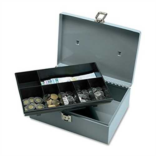 Refurbished Cash Box with Latch Lock, 2 Keys, 7 Components, 11 x 7-3/4 x 4 Inches, Gray