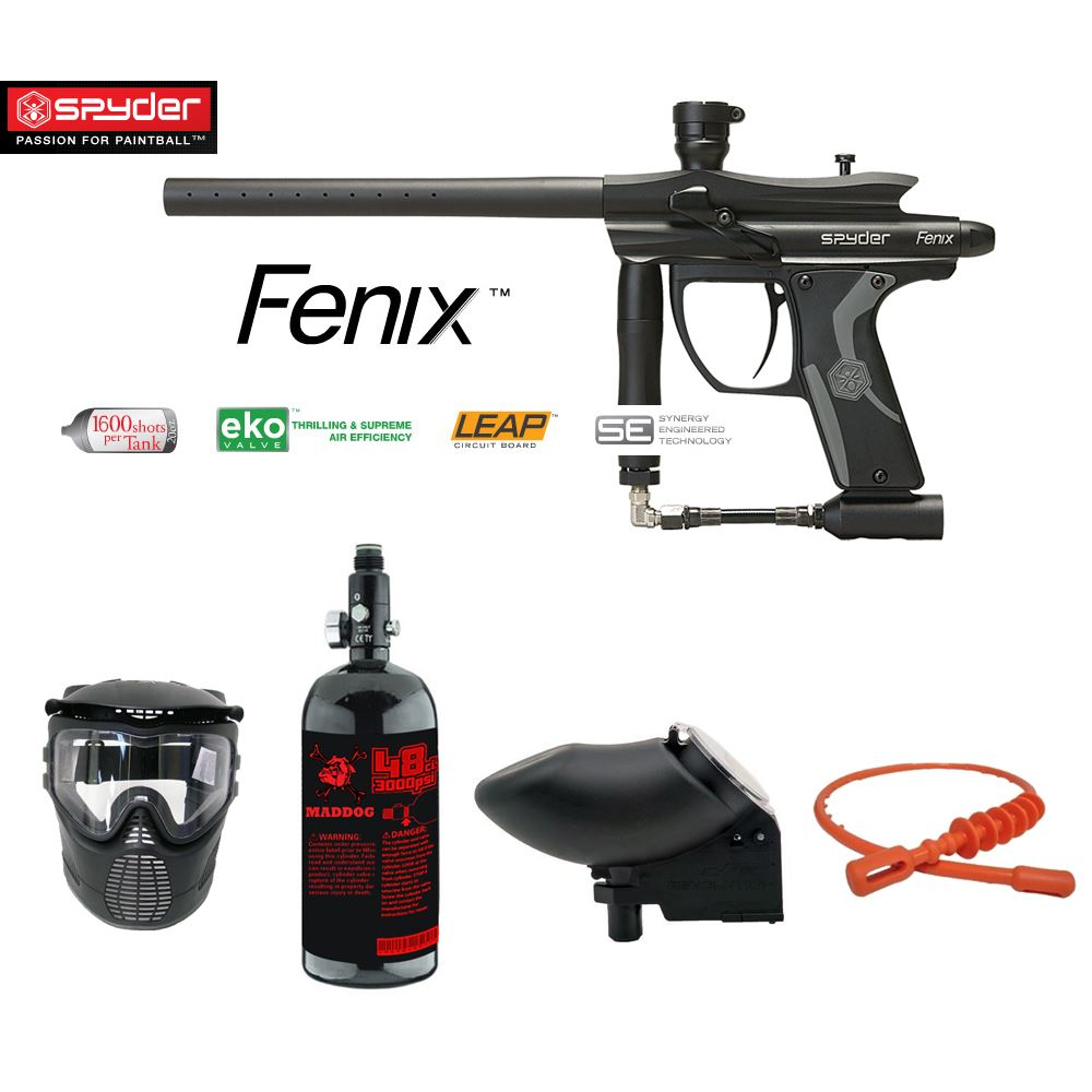 Click here to buy Kingman Spyder Fenix 1 Star Nitro Paintball Gun Package-Black.