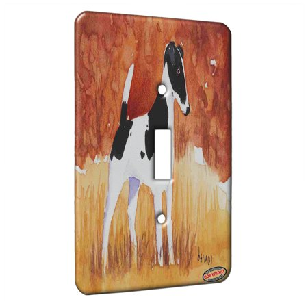 KuzmarK™ Single Gang Toggle Switch Wall Plate - Black Smooth Fox Terrier in Autumn Dog Art by Denise Every