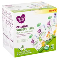 Parent's Choice Organic Fruit, Veg & Grain Puree Variety Pack, Stage 2, 6+ Months, 4 oz, 12 count