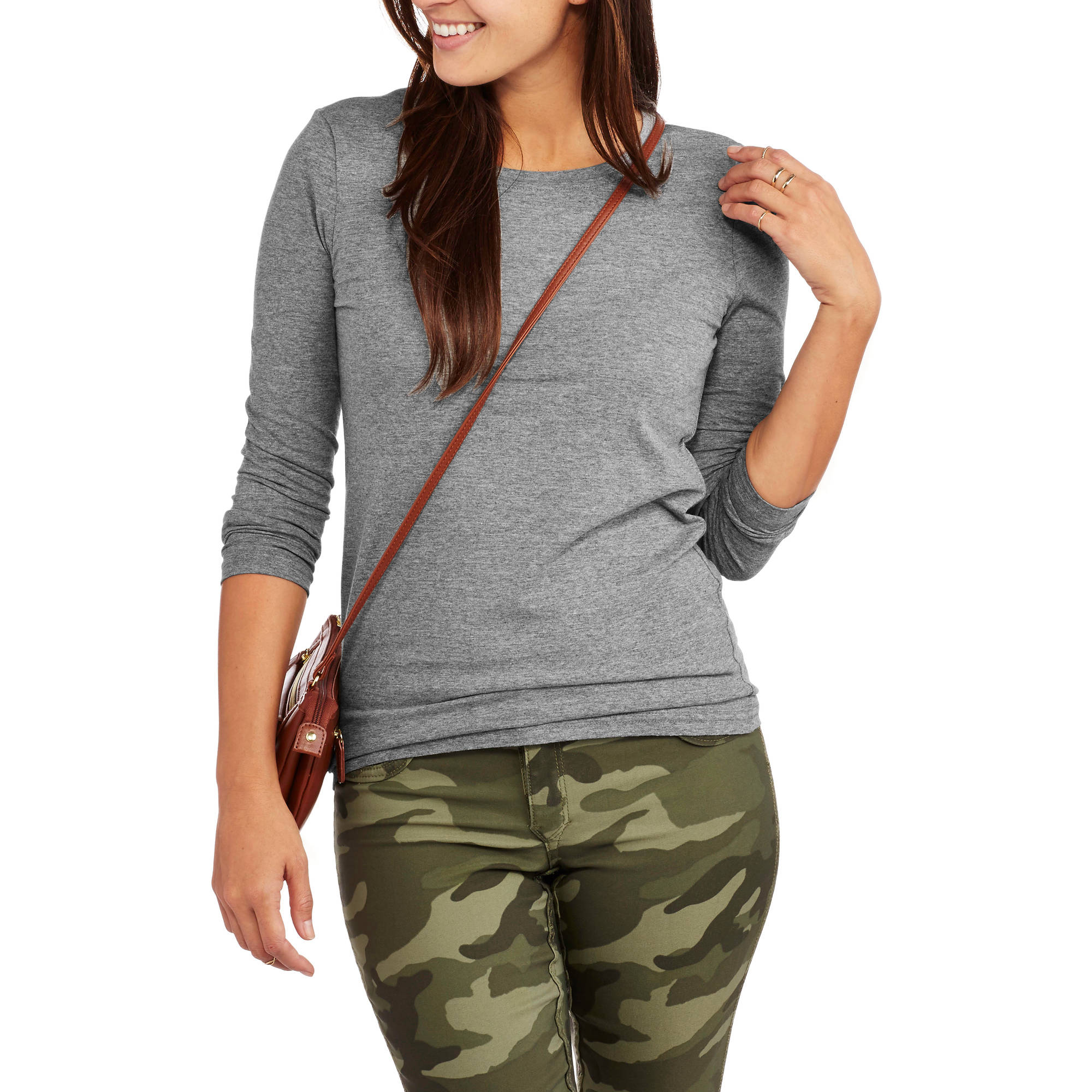 Faded  Glory Womens' Long Sleeve Crew Neck T-Shirt