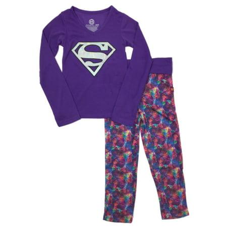 DC Comics Girls Purple & Pink Super Girl Pajamas Supergirl Sleep Set XS(4-5)