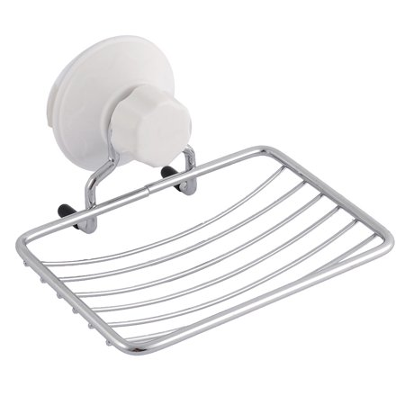 Bathroom Cup Dispensers - Unique Bargains Bathroom Metal Wall Mounted Suction Cup Soap Rack Holder Dispenser Silver Tone