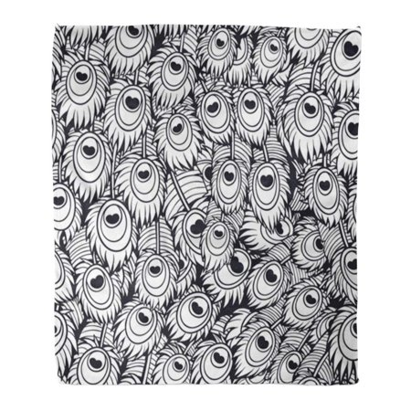 Astonishing Laddke Throw Blanket Warm Cozy Print Flannel Abstract Black And White Peacock Feather Adult Comfortable Soft For Bed Sofa And Couch 50X60 Inches Gmtry Best Dining Table And Chair Ideas Images Gmtryco