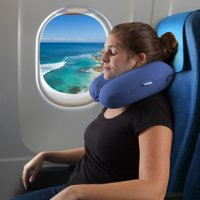 Memory Foam Travel Pillow- With Gel That Cools for Head/Neck Support with Pillowcase for Sleeping, Traveling, Airplanes, Trains by (Blue)