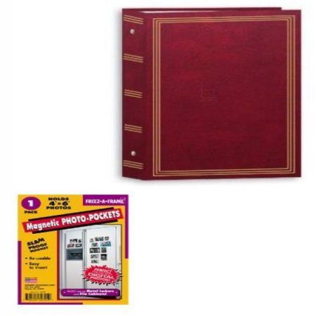 "Package:   pioneer 3-ring Pocket Burgundy Album for 504 Photos 4""x6"" --Plus 1- 4x6 Fridge Magnet"