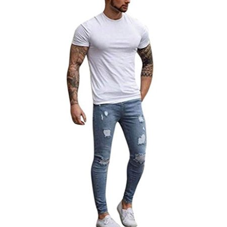 Men's Denim Jeans Vintage Casual Ripped Broken Hole Jeans Denim Joggers Pants ()