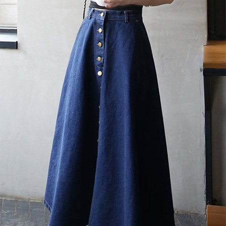 8b299bc35a1d2b Korean Style Women High Waist Loose Type Long Skirts Summer Casual All  Match Clothes Denim Skirts ...