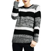 Men's Winter Round Neck Long Sleeve Color Block Casual Knit Shirt (Size S / 36)