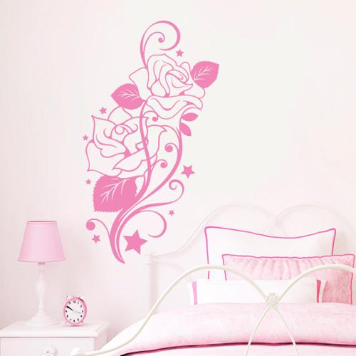 Stickalz llc Wall Decal Flower Roses Design Decals for Florists Vinyl Stickers Home Decor Art Murals Pink