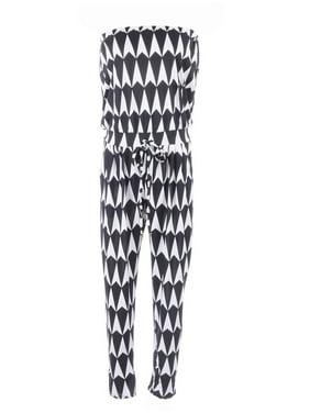S/M Fit Black and White Harlequin Pattern Drawstring Waist Jumpsuit