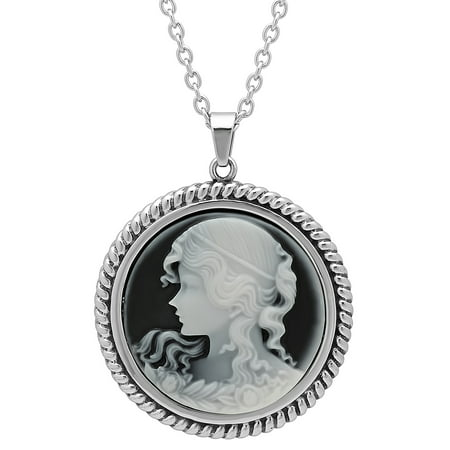 Women's Stainless Steel Cameo Pendant with Chain Cameo Italian Pin Pendant