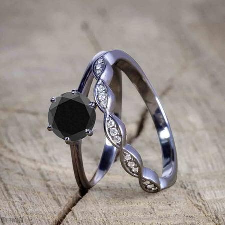 Vintage design 1.25 Carat Round cut Black Diamond Wedding Set for Women in Black Gold